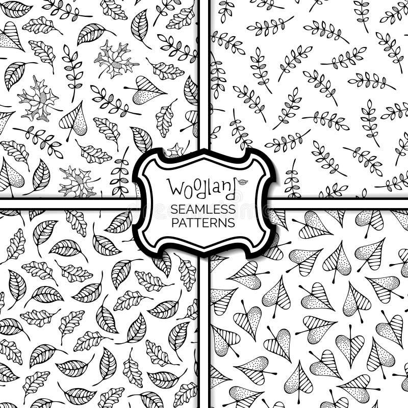 Uppsättning av Autumn Seamless Patterns stock illustrationer