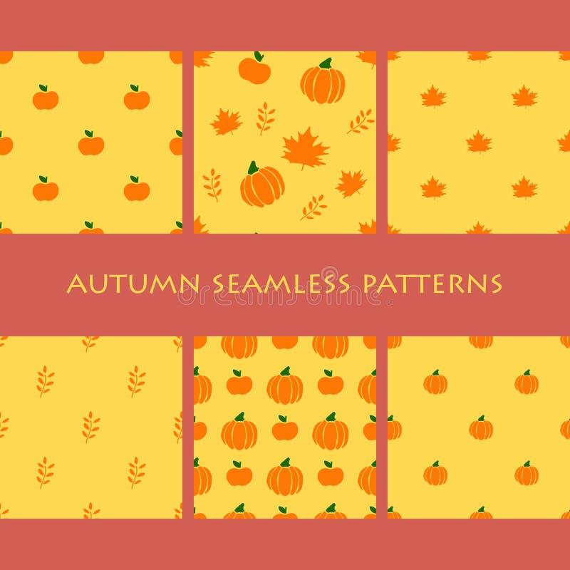 Uppsättning av Autumn Seamless Patterns Orange äpplen, sidor, pumpor stock illustrationer