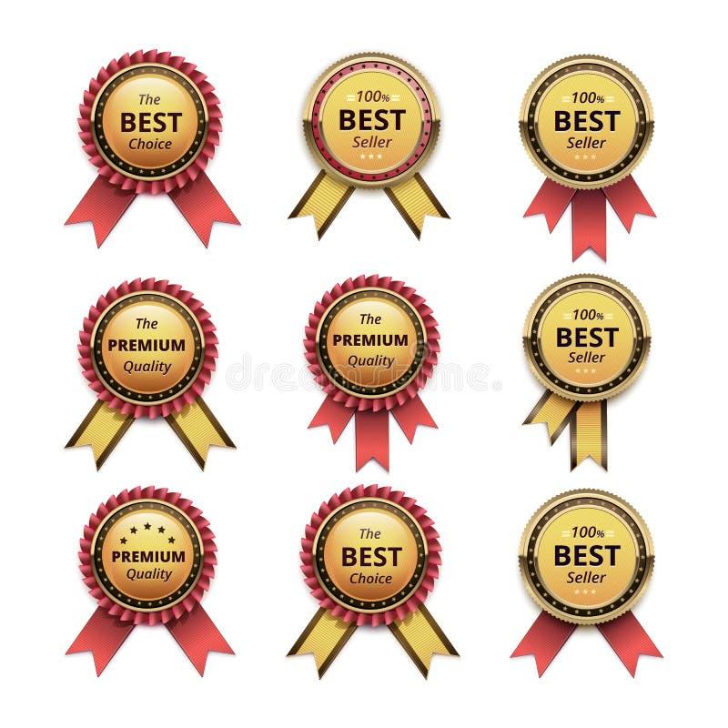 Uppsättning av av högsta kvalitet guld- etiketter med band stock illustrationer