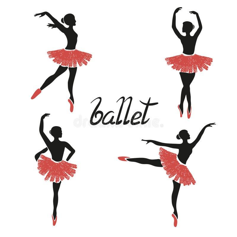 Uppsättning av av stiliserade ballerina Poserar av balett royaltyfri illustrationer