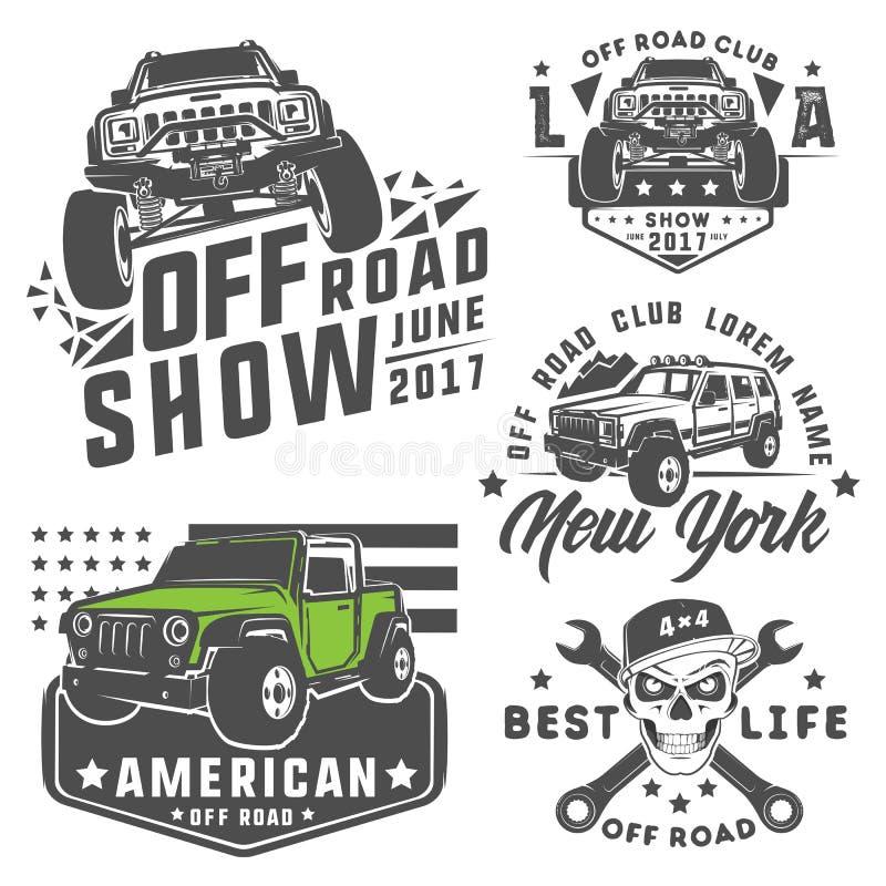 Uppsättning av av vägbilen för emblem, logo, design och tryck royaltyfri fotografi