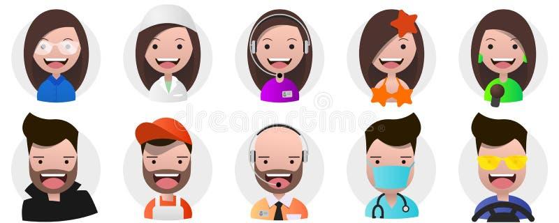Uppsättning av avatars, positiva personer, kvinnlig och manyrken vektor illustrationer