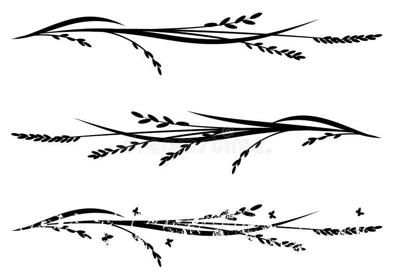 Uppsättning av avdelare med ris stock illustrationer