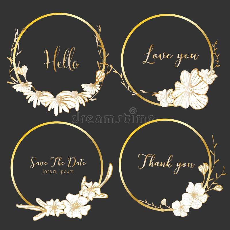 Uppsättning av avdelarrundaramar, utdragna blommor för hand, botanisk sammansättning, dekorativ beståndsdel för bröllopkort royaltyfri illustrationer
