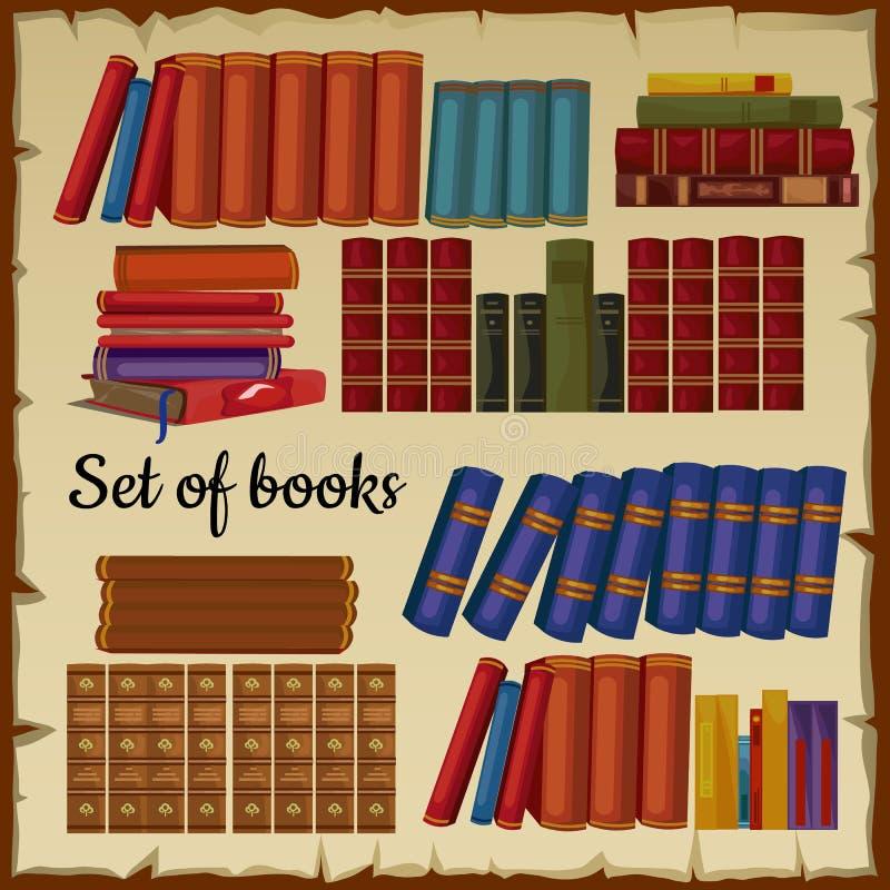 Uppsättning av böcker från arkivet royaltyfri illustrationer