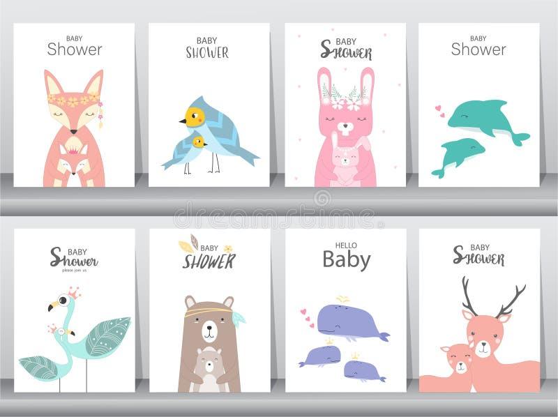 Uppsättning av baby showerinbjudankort, affisch, hälsning, mall, djur, kanin, kaka, stork, gås, val, fåglar, hjortar, vektorillus royaltyfri illustrationer
