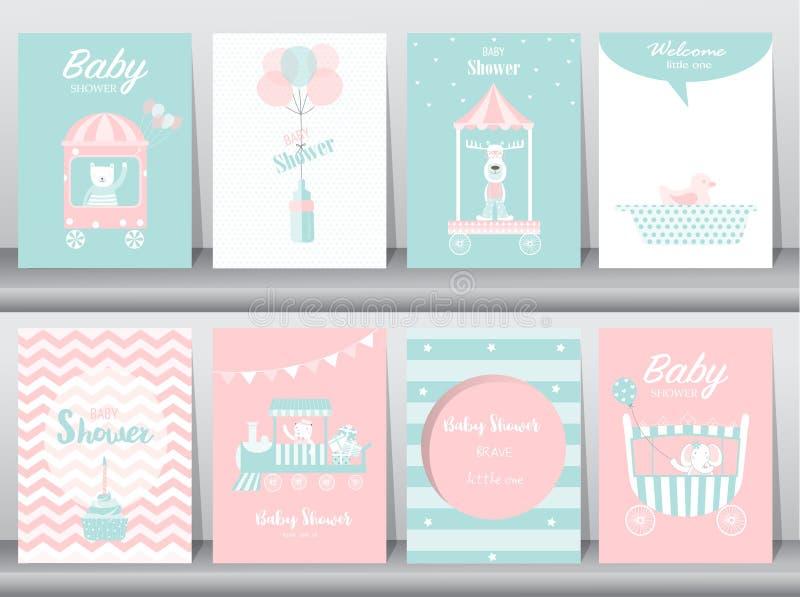 Uppsättning av baby showerinbjudankort, födelsedagkort, affisch, mall, hälsningkort som är gulliga, björn, drev, bil, djur, vekto vektor illustrationer