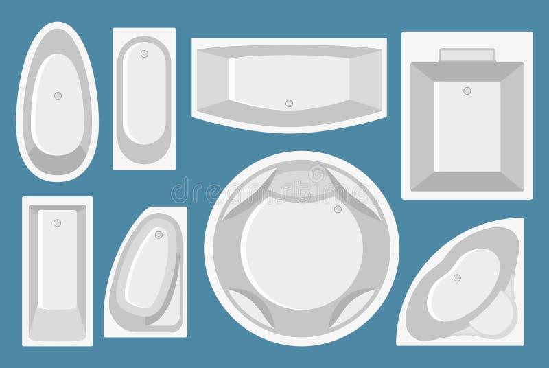 Uppsättning av badkar i plan stil Top beskådar vektor illustrationer