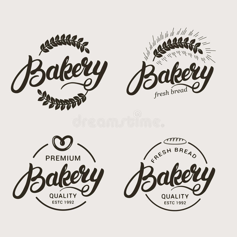 Uppsättning av bageri- och brödlogoen royaltyfri illustrationer