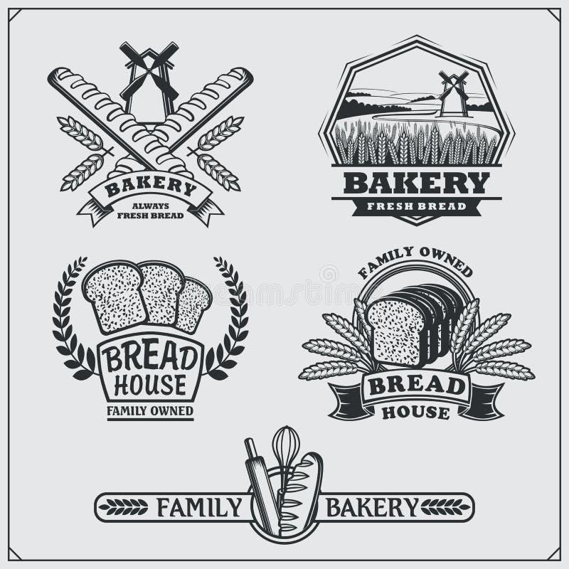Uppsättning av bagerietiketter, emblem, emblem och designbeståndsdelar vektor illustrationer