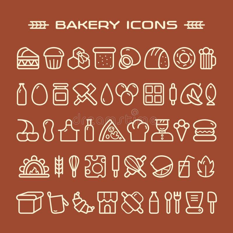 Uppsättning av bagerisymboler i den tunna linjen stil royaltyfri illustrationer