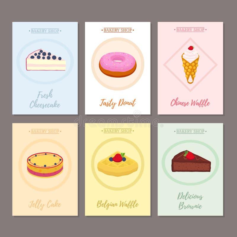 Uppsättning av bakelseaffischer, baner för söt mat Munk ostkaka vektor illustrationer