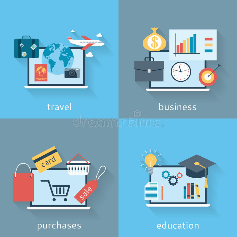 Uppsättning av bakgrunder av den moderna plana designen av resanden, affären, köp och utbildning vektor illustrationer
