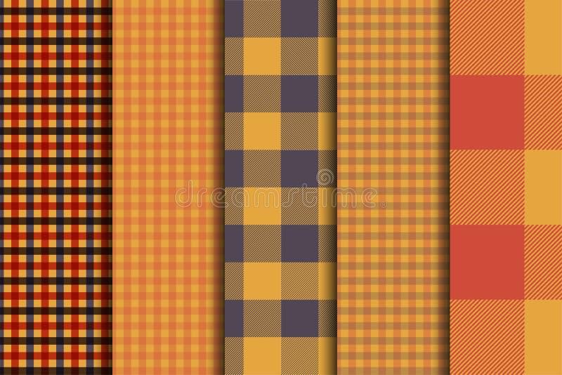 Uppsättning av 5 bakgrunder för modell för alternativtartan sömlösa Pläd för höstfärgpanel stock illustrationer