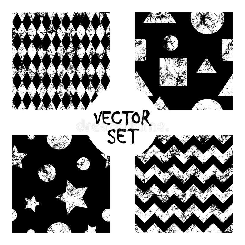 Uppsättning av bakgrunder för sömlösa modeller för vektor idérika geometriska svartvita med fyrkanter, stjärnor, cirklar Textur m vektor illustrationer