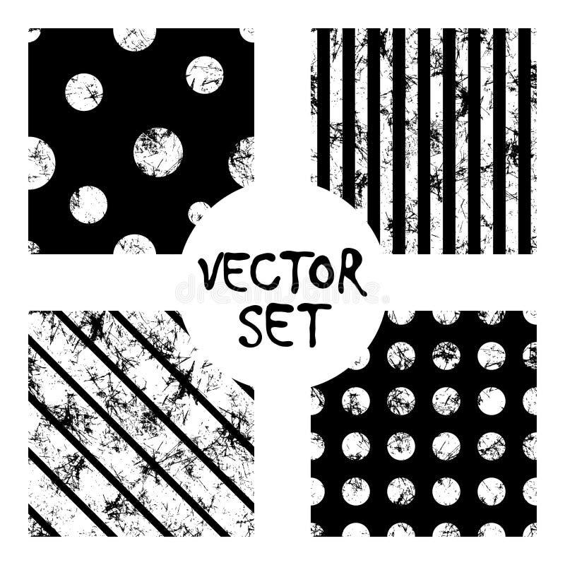 Uppsättning av bakgrunder för sömlösa modeller för vektor idérika geometriska svartvita med linjer, diagonal, cirklar, prickar Te royaltyfri illustrationer