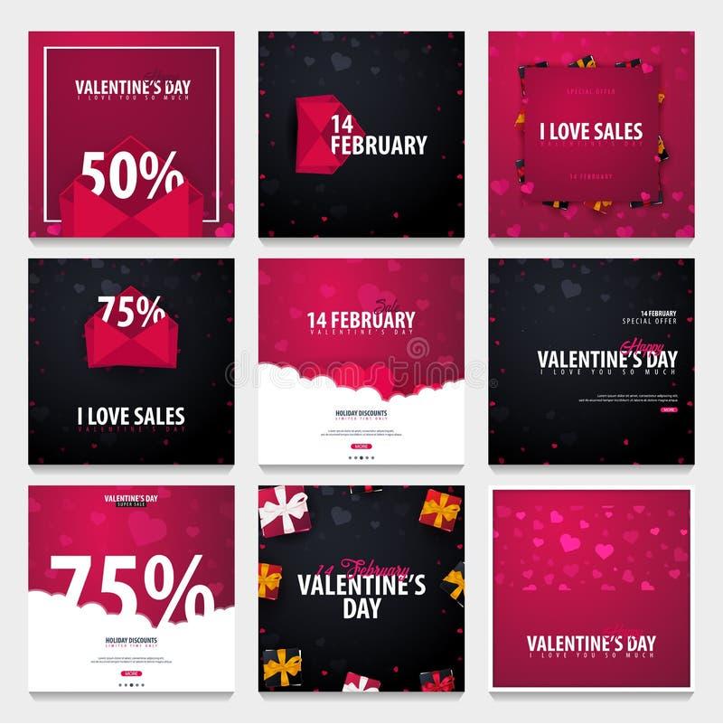 Uppsättning av bakgrunder för valentindagförsäljning Tapet reklamblad, inbjudan, affischer, broschyr, kupong, baner också vektor  stock illustrationer
