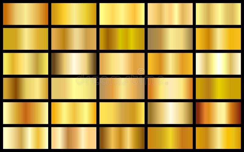 Uppsättning av bakgrunder för vektor för fyrkant för lutning för guld- realistisk metalltextur sömlösa vektor illustrationer