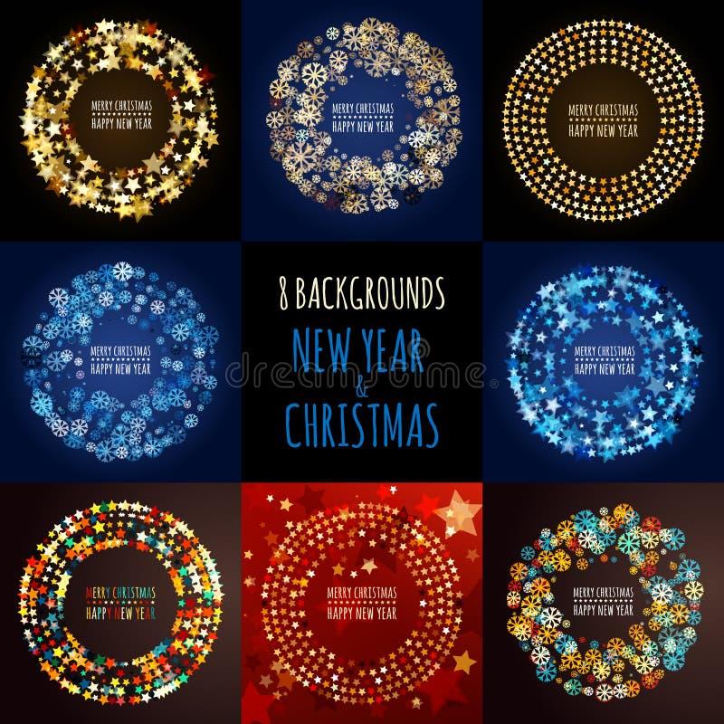Uppsättning av bakgrunder för vektorabstrakt begreppferie nytt år för jul royaltyfri illustrationer