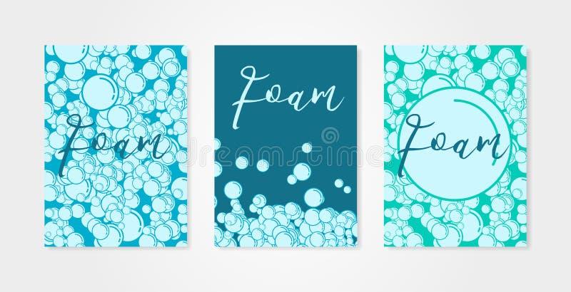 Uppsättning av bakgrunder med bubblor av schampo- eller tvålskum Samlingen av aqua parkerar, simbassäng- eller dykningbegrepp vektor illustrationer