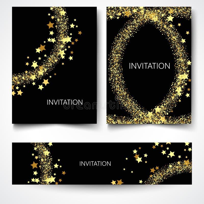 Uppsättning av bakgrunder med guld- ljus som planlägger hälsningkort royaltyfri illustrationer