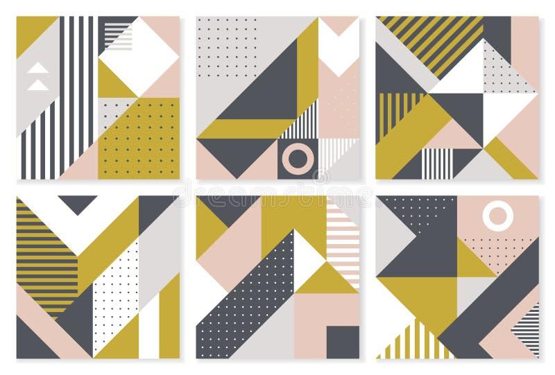 Uppsättning av 6 bakgrunder med moderiktig geometrisk design Vektormall för räkningar royaltyfri illustrationer