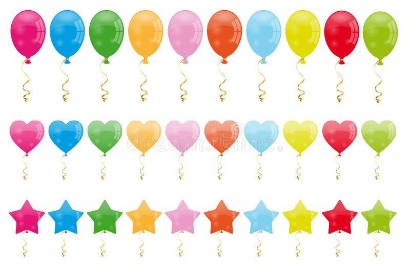 Uppsättning av ballonger royaltyfri illustrationer