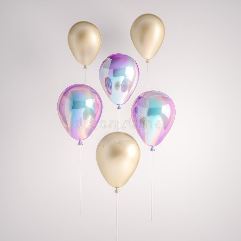 Uppsättning av ballonger för holographic och guld- folie för regnbågsskimmer som isoleras på grå bakgrund Moderiktiga realistiska royaltyfri illustrationer