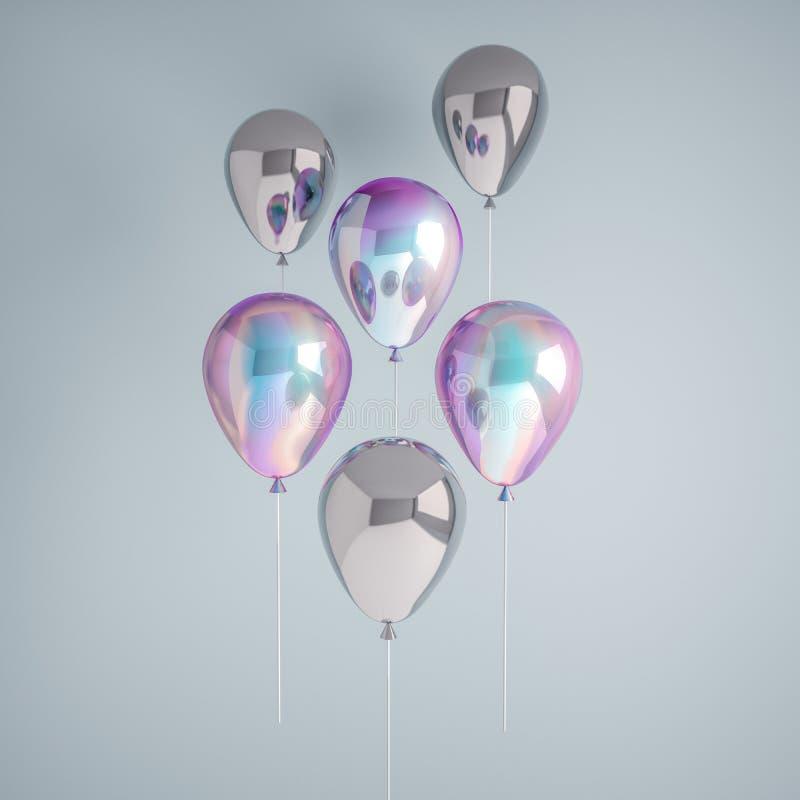 Uppsättning av ballonger för holographic och silverfolie för regnbågsskimmer som isoleras på grå bakgrund Moderiktiga realistiska royaltyfri illustrationer