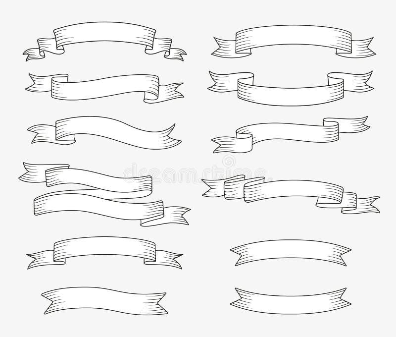 Uppsättning av bandbaner Hand dragen designbeståndsdel stock illustrationer