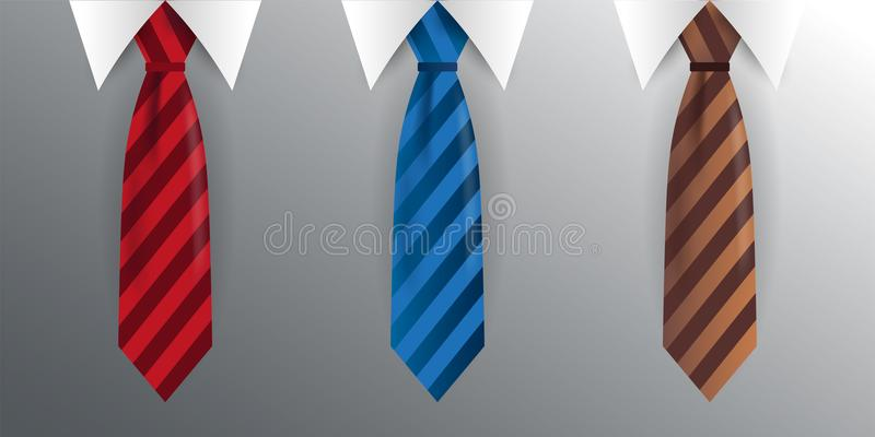 Uppsättning av bandet, slips på en grå bakgrund också vektor för coreldrawillustration stock illustrationer