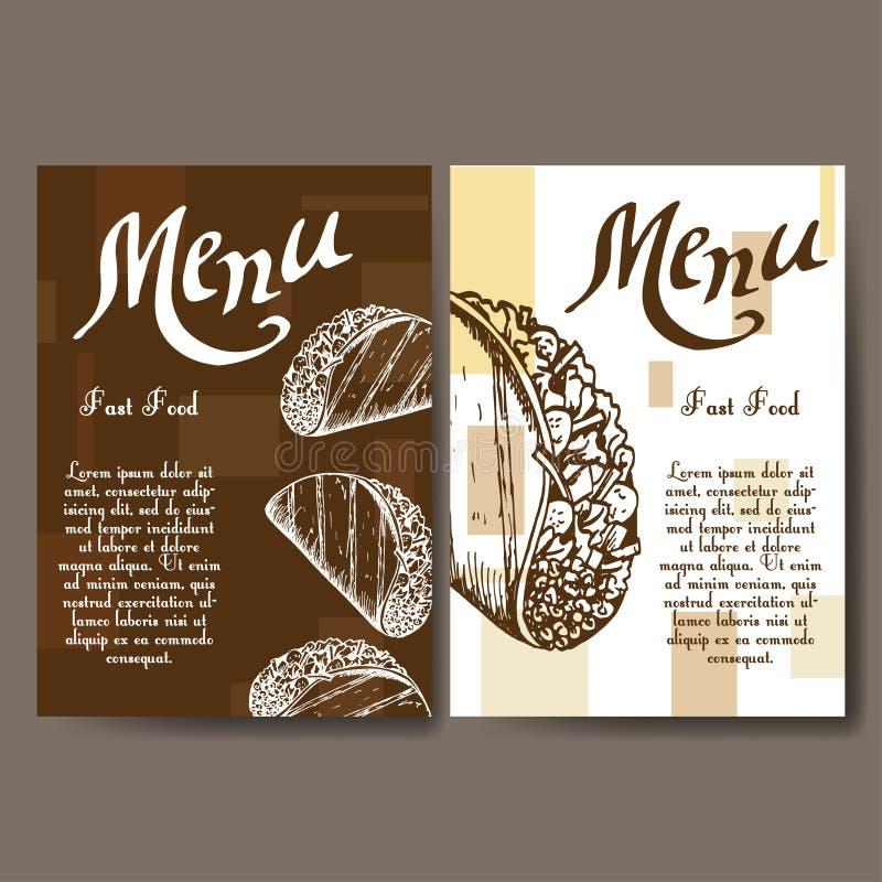 Uppsättning av baner av snabbmatdesignen Kort med skissar taco Mallmeny med stället för text för kafé royaltyfri illustrationer