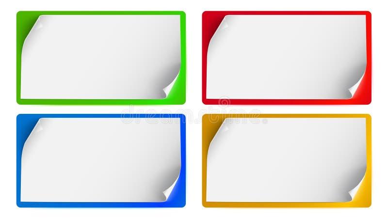 Uppsättning av baner, bakgrund för annonsering och meddelanden Tomma ark av papper med isolerade krullade hörn vektor illustrationer