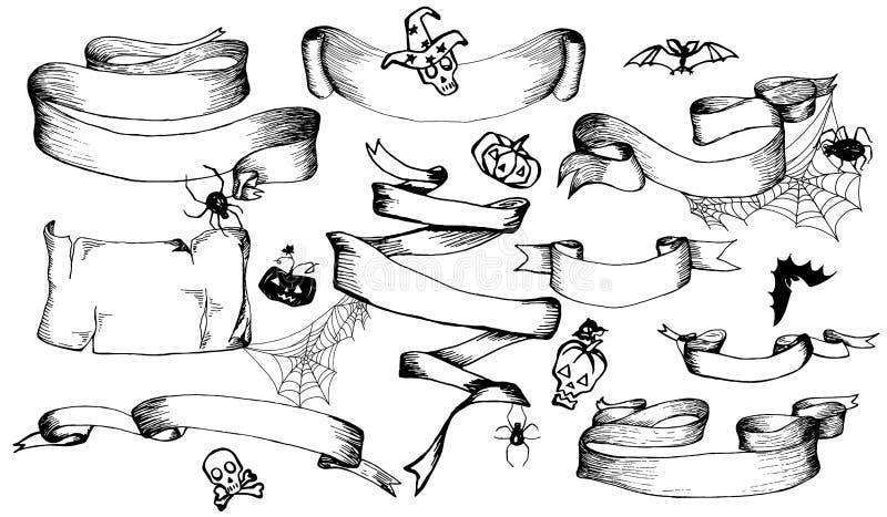 Uppsättning av baner, band, beståndsdelar för garneringhälsningkort eller inbjudan för allhelgonaafton hand drog Den drog handen  royaltyfri illustrationer
