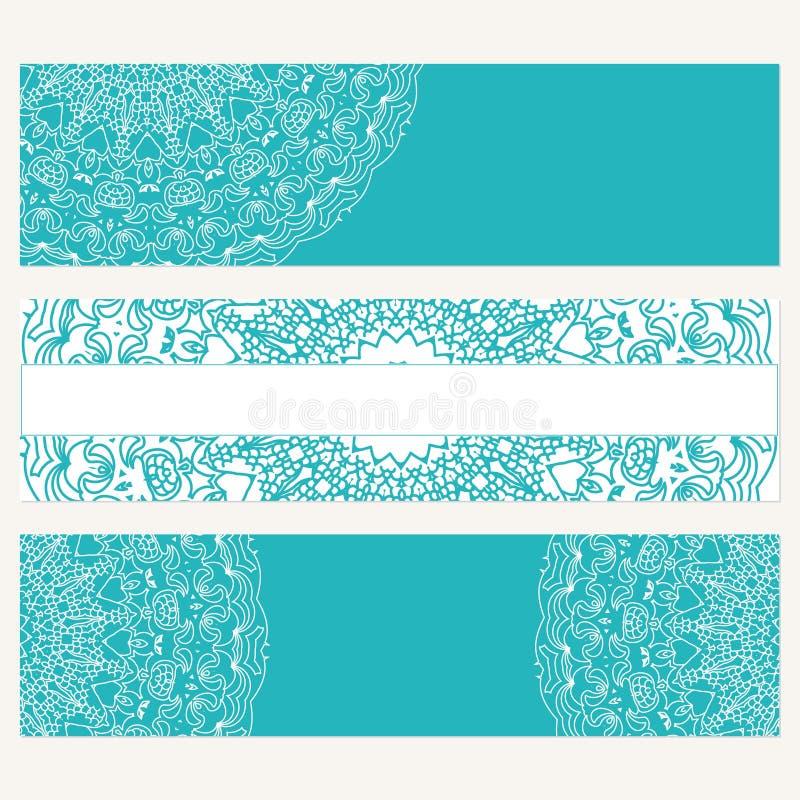 Uppsättning av baner för affär Abstrakt bakgrund med prydnaden royaltyfri illustrationer