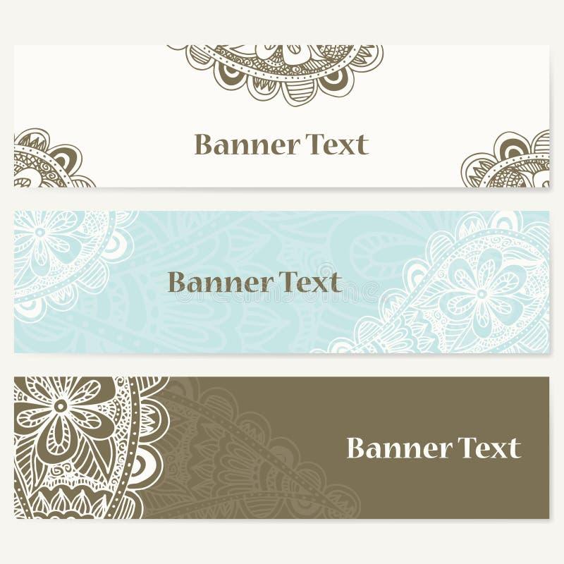 Uppsättning av baner för affär Vektormall för företags identitet med klotter för din design royaltyfri illustrationer