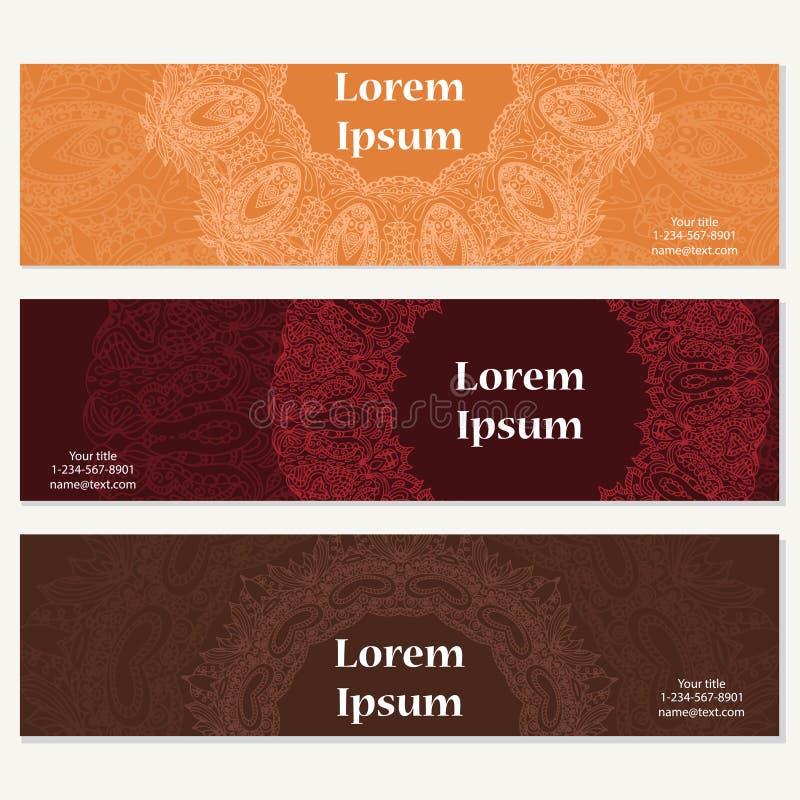 Uppsättning av baner för affär Vektormall för företags identitet med klotter för din design vektor illustrationer