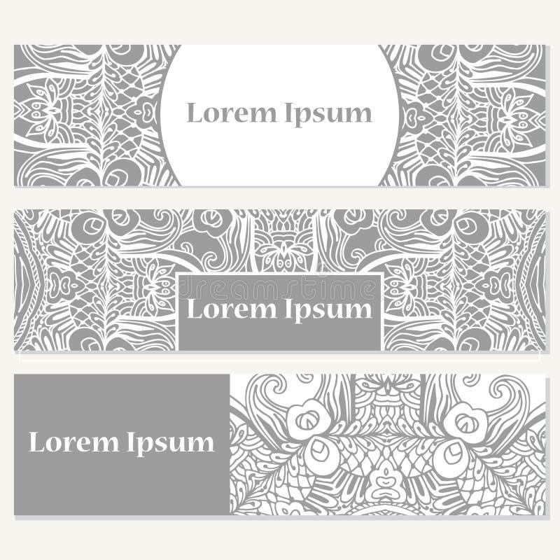 Uppsättning av baner för affär Vektormall för företags identitet med klotter för din design stock illustrationer