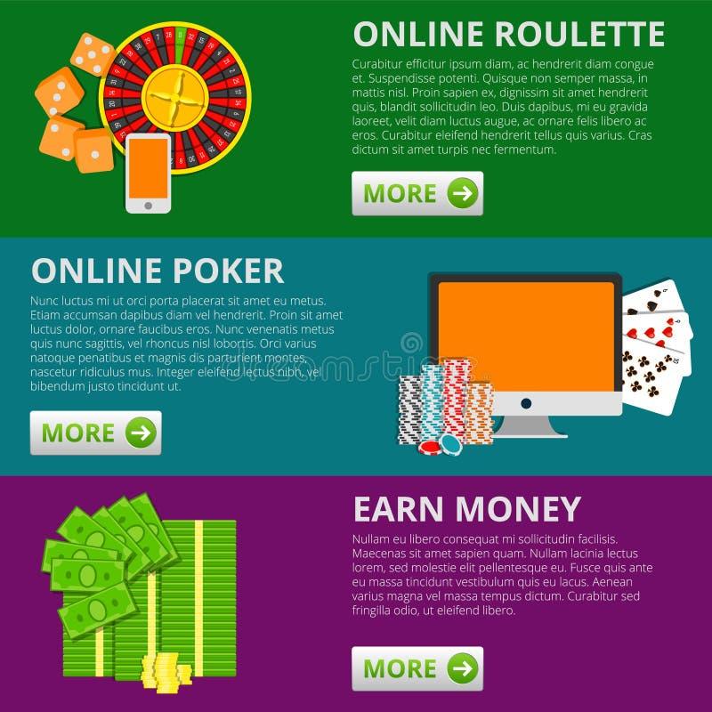Uppsättning av 3 baner för internetdobblerilägenhet Poker och roulett Online-begrepp för förtjänstpengarvektor stock illustrationer