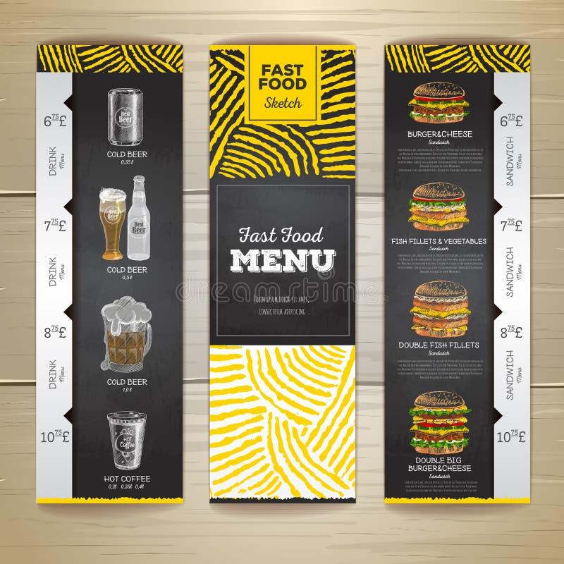 Uppsättning av baner för meny för snabbmat för tappningkritateckning Smörgås vektor illustrationer