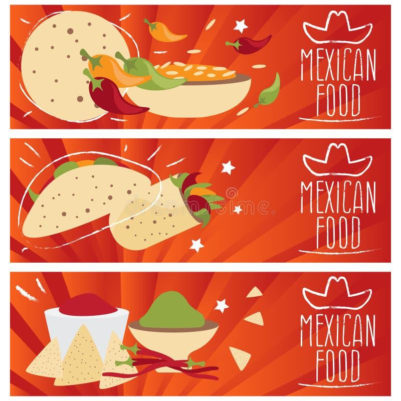Uppsättning av baner för smaker för mexikansk kokkonst för tema olika stock illustrationer