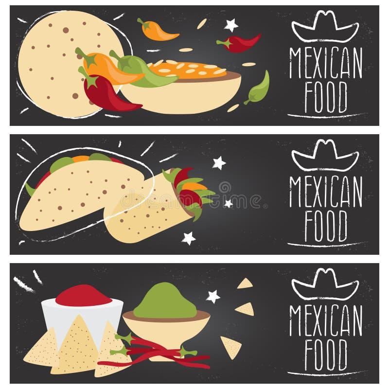 Uppsättning av baner för smaker f för mexikansk kokkonst för tema olika stock illustrationer