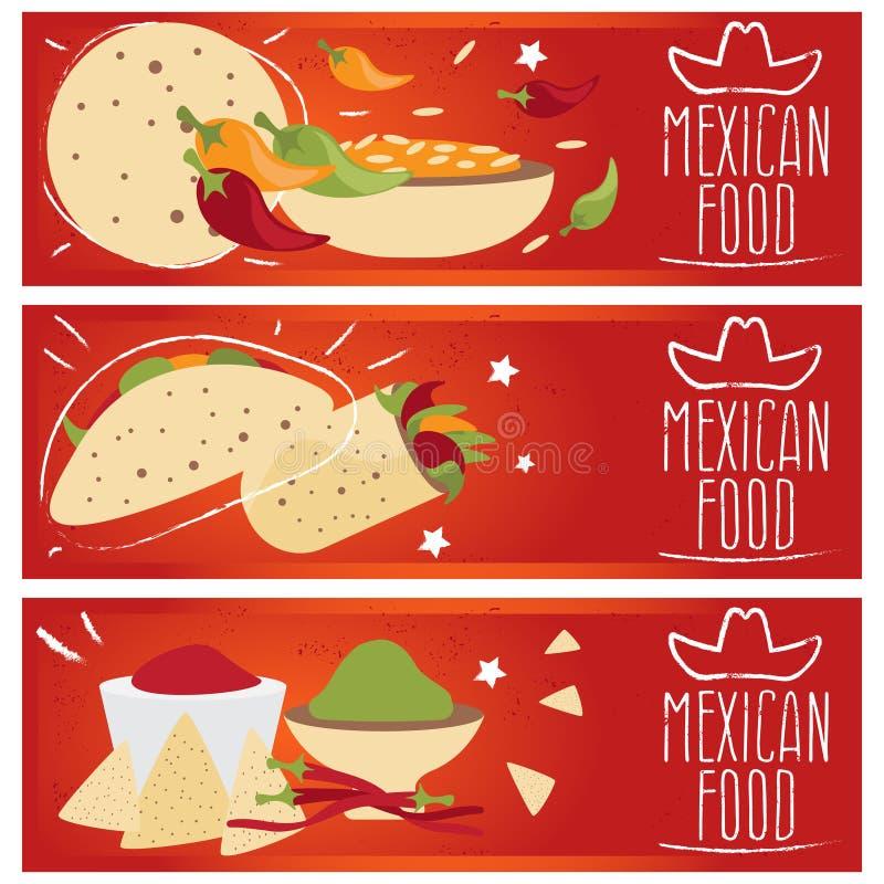 Uppsättning av baner för smaker f för mexikansk kokkonst för tema olika vektor illustrationer