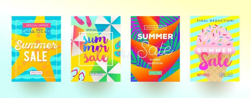 Uppsättning av baner för sommarförsäljningsbefordran Semester, ferier och färgrik ljus bakgrund för lopp Affisch- eller informati vektor illustrationer