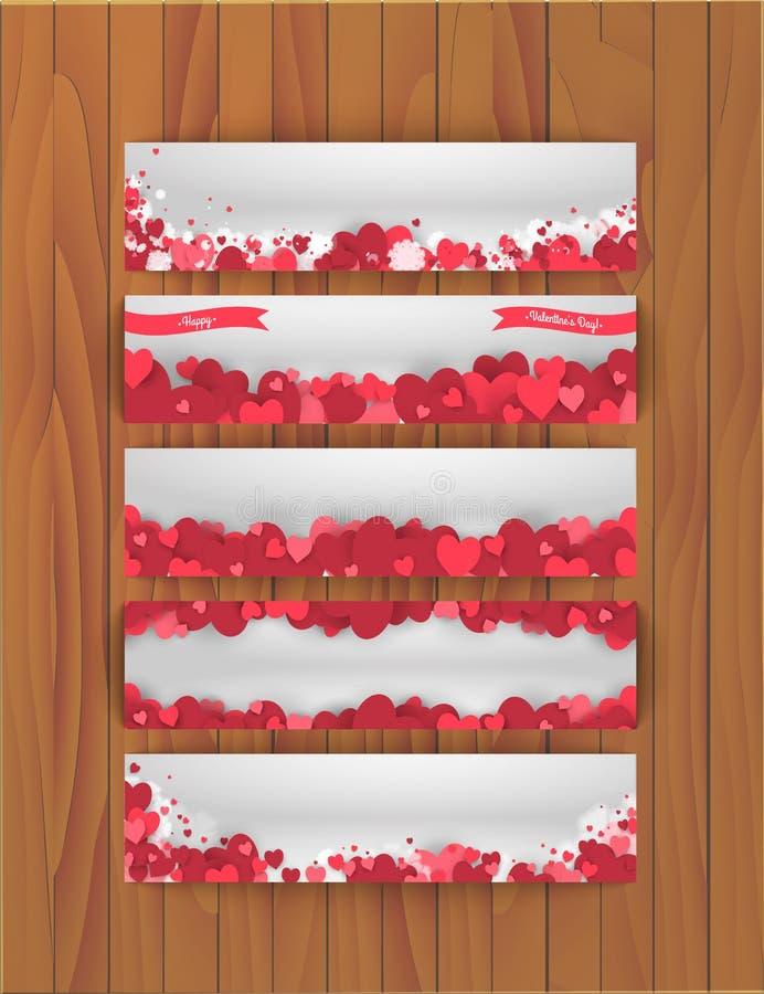 Uppsättning av baner för St-valentindag med abstrakt bakgrund av hjärtor royaltyfri illustrationer
