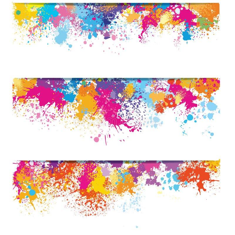 Uppsättning av baner från målarfärgfläckar vektor illustrationer