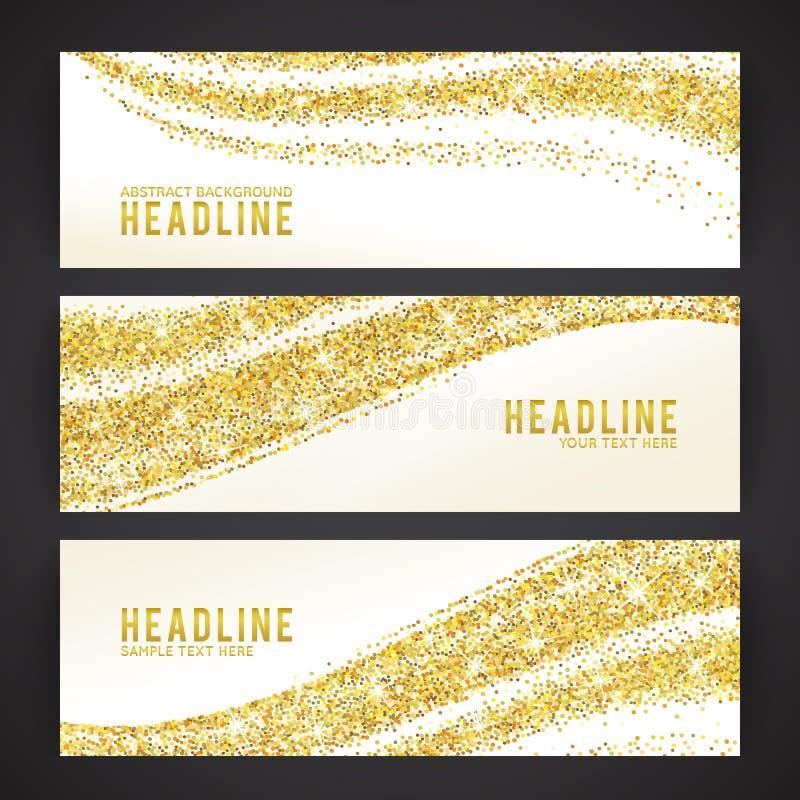 Uppsättning av baner med guld- konfettitema vektor vektor illustrationer