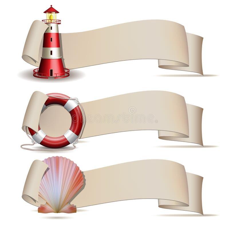 Uppsättning av baner med marin- symboler. stock illustrationer