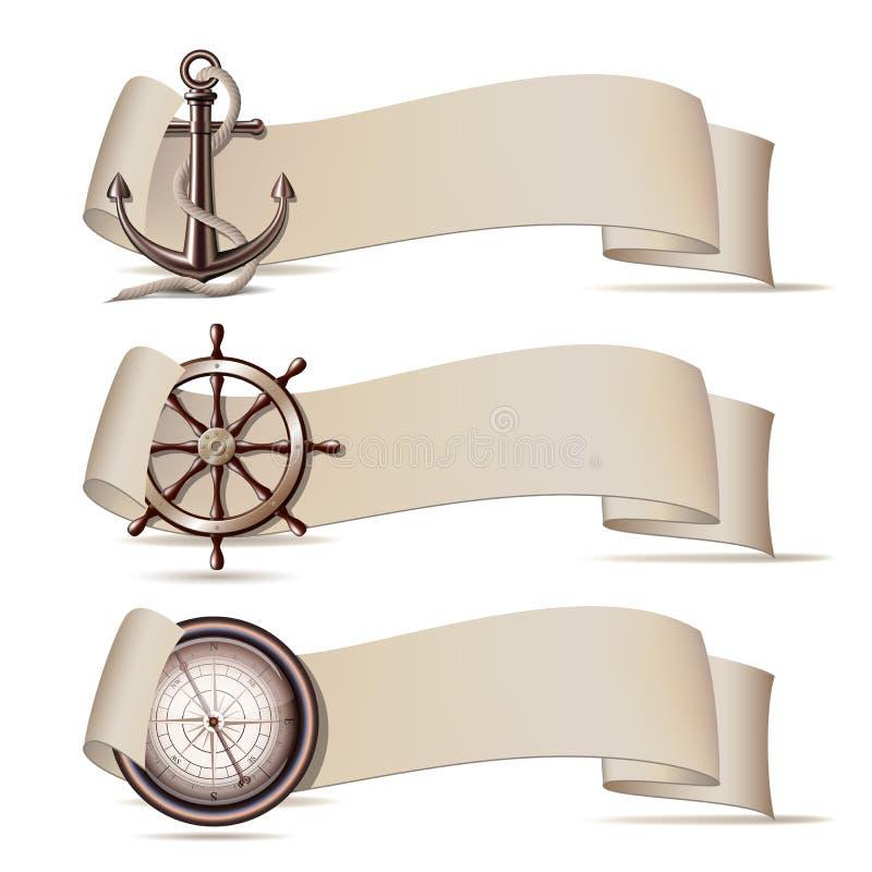 Uppsättning av baner med marin- symboler. royaltyfri illustrationer