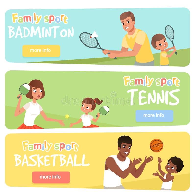 Uppsättning av 3 baner med sportföräldrar och deras barn aktiv livsstil Lycklig familj som spelar badminton, tennis och stock illustrationer